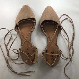 Taupe Lace Up Flats